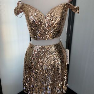 Sherri Hill NEW gold homecoming sequin dress 6